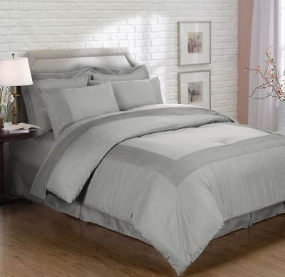 Chezmoi Collection 8pc Gray Pleated Bed-in-a-Bag Comforter & Sheet Set, Queen