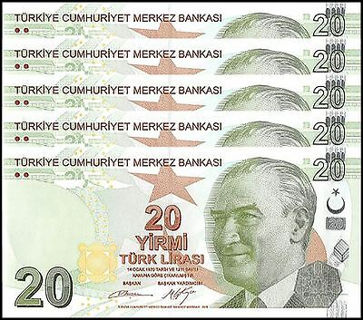 Turkey 20 Lira X 5 Pieces (PCS), 2009, P-224a, UNC