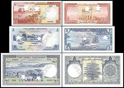 Lebanon 1 to 100 Livres 3 Pieces (PCS) Specimen Set, 1952, P-55s2-60s2, UNC