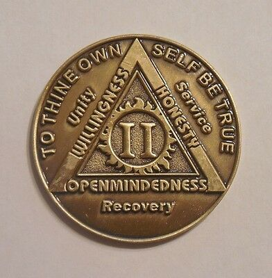 aa bronze alcoholics anonymous 2 year sobriety chip coin token medallion