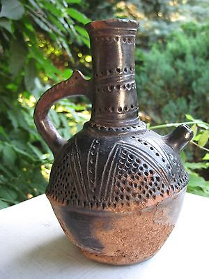 Antique Rare Small Earthenware Jug W/ Handle & Spout Marked Pre-Columbian Style
