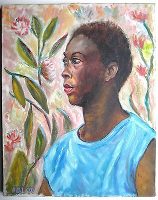 Vintage African American Impressionist Oil Portrait Of a Young Lady
