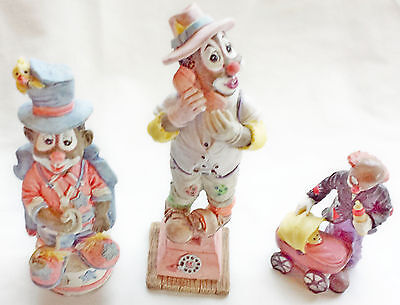 Collectible Clown Figurines - Set of 3