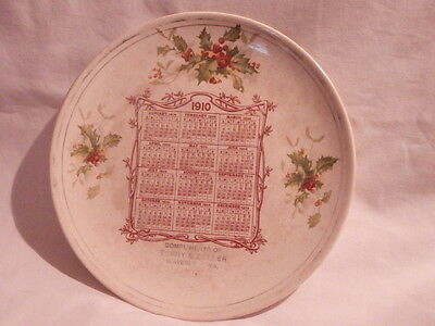 Rare 1910 Advertising Calendar Plate: COMPLIMENTS OF TERRY & ZOLLER WAVERLY IOWA