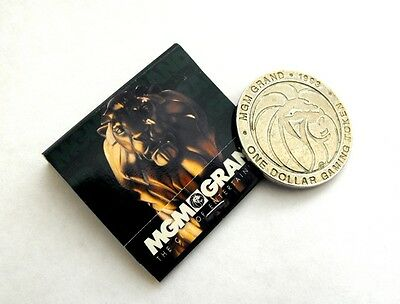 MGM GRAND CASINO Vintage Las Vegas $1 Slot Token & LION MATCHBOOK