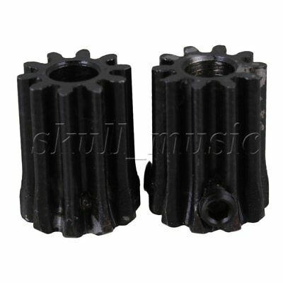 2 x Module 1 Black 5mm Hole 10T Motor 45 Steel Gear Wheel with Top Screws