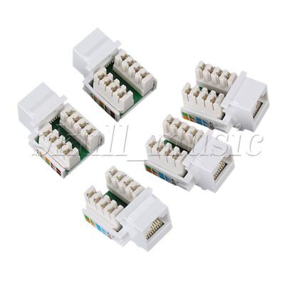 5pcs RJ45 Cat5e Ethernet Network Computer Information Module Keystone Jack White