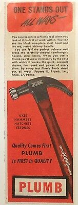 1948 Vintage Plumb Hammer Tool Quality Comes First Construction Ad