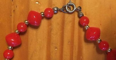 Classic Vintage Skittles Shaped Chinese Red Plastic Beaded Necklace Vintage 80s