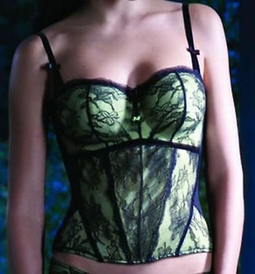 Green Lace  Panache Masquerade Antoinette Padded Basques Bustier Corset sz 38FF