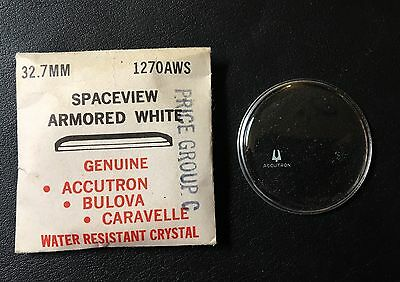 Vintage Bulova Accutron Spaceview 32.7mm White Armored Watch Crystal 1270AWS