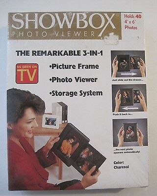 NEW Holson Showbox Photo Viewer 3 in 1 Storage System Holds 40 4x6 Charcoal