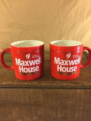 """2 -Vintage """"Red"""" Maxwell House Instant Coffee Cups Mugs . Good To The Last Drop"""