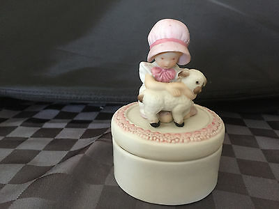 Holly Hobbie Summit Collection Round Shaped Trinket Box Girl with Lamb