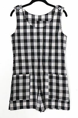 vintage black and white gingham checkered romper shorts playsuit shortsuit, S