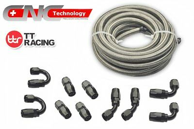 AN10 6M 20FT Stainless Steel Braided Fuel Line+Black Swivel Fitting Hose Kit