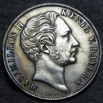 1849 German State Bavaria 2 Gulden Silver Coin Germany ----STUNNING ---- #X606