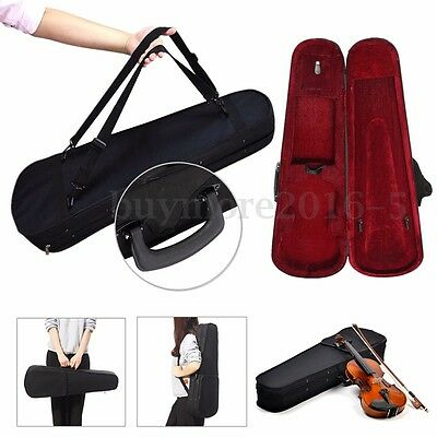 Violin Hand Box Case Oxford Fabric Black Portable Triangle Shape With Red Lining