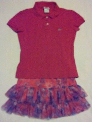 Girls  Pink Short Sleeve Lacoste Justice Floral Layer Skirt Size XS / 10