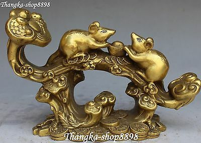 "9"" Chinese Bronze Wealth Money Yuanbao Mouse Mice Rat Animal Ruyi Ru Yi Statue"