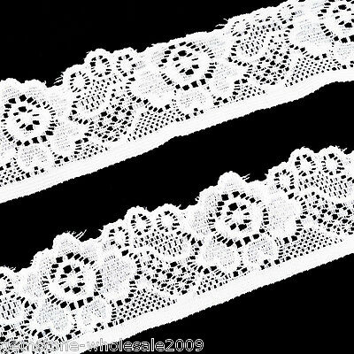 10Yards 30mm White Elastic Lace Polyester For DIY Craft Sewing Accessories GW