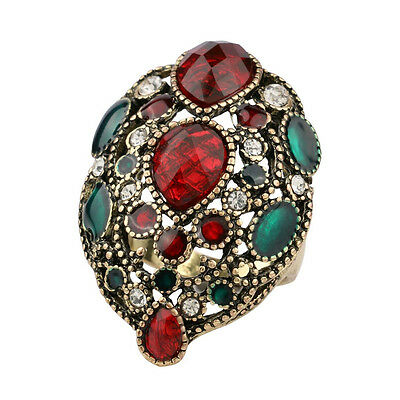 Tribal ethnic style mix rhinestones clustered green red women's statement ring