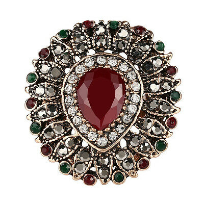 Statement Ring Lion Mane Flower Style Womens Almond Agate Marcasite Fashion Ring