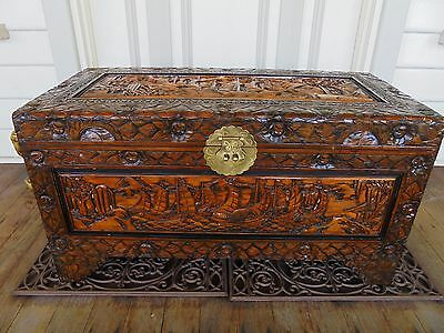 Large Hand Carved Camphor Wood Chest Blanket Box Sailing Boat Design