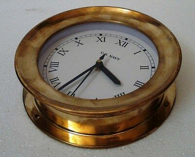 U.S. Navy BRASS Marine Wall Clock - 100% SATISFACTION -  LARGE - ROMAN Letters