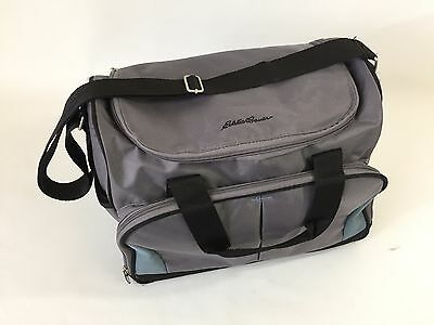 Eddie Bauer Gray Blue Tote Baby Shoulder Diaper Bag with Changing Pad