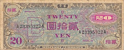 Japan 20 Yen  ND. 1945 P 75 Series 100 WWII issue  Circulated Banknote