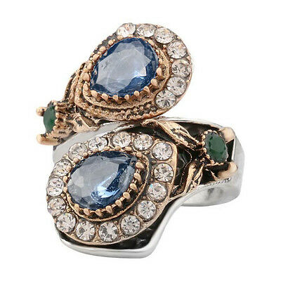 Statement Ring Red Agate Sapphire Snake Wrap Style Almond Cut Women Fashion Ring