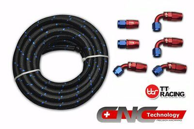 AN-6 Stainless Nylon Braided Fuel Line+Fitting Hose End Adaptor Kit 12FT 3.5M