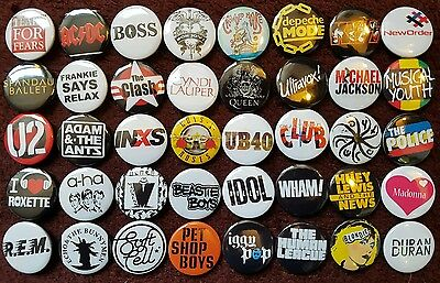80's Music Button Badges X 40 (Set 1). Pins. Wholesale. Collector. :0)