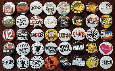80's Music Button Badges (Collection 1).  25mm in Size. :0)