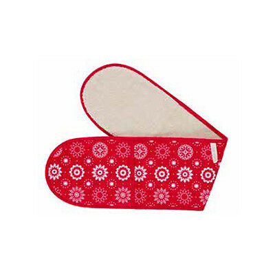 Double Oven Glove in Red and Cream by Crisp & Dene