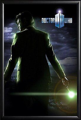 Framed Doctor Who Sonic Screwdriver 24x36 Dry Mount Poster Matte Back Wood