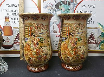 "Royal Satsuma Pair Moriage 8"" Tall Vase Vases Japan China Geisha's"