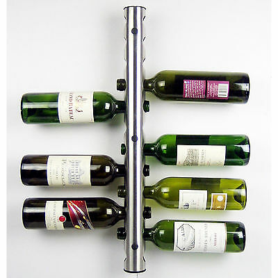 New Stainless Steel Bar Wine Rack Wine Shelf Wall Mounted Holder 12 / 8 Bottles