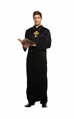 Holy-er Vicar Priest Fancy Dress Outfit Adult Mens Costume Robe Collar & Cross