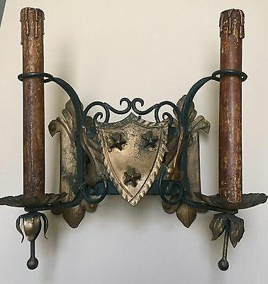 GORGEOUS vintage LARGE French Iron Wall Sconces Light Fixture rewired US shield