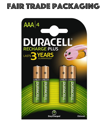 AAA 4 Pack Duracell Rechargeable Batteries 750 Mah HR03 DC2400 NiMH Phone
