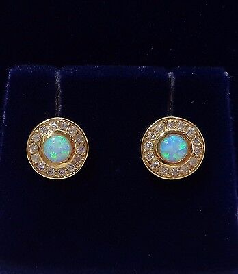 Opal Stud Earrings with Diamond Halo in 9ct Yellow Gold