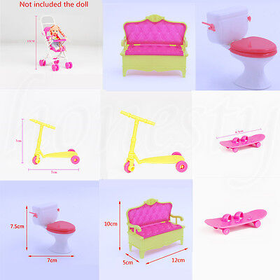 1x Dollhouse Model Simulation Mini Bench Scooter Toilet Trolley For Barbie House
