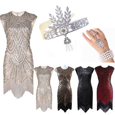 Vintage 1920s Flapper Dress Great Gatsby Sequins Fringeds Cocktail Party Dresses