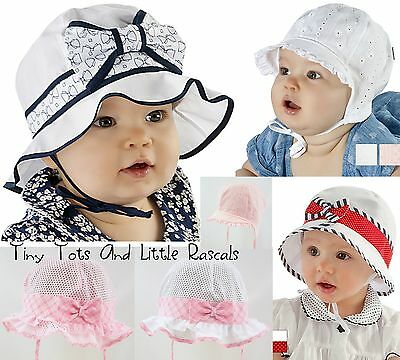 Baby Girls Summer Hat Marine Sailor Holiday Beach Cap Bonnet Sizes 0 - 2 years