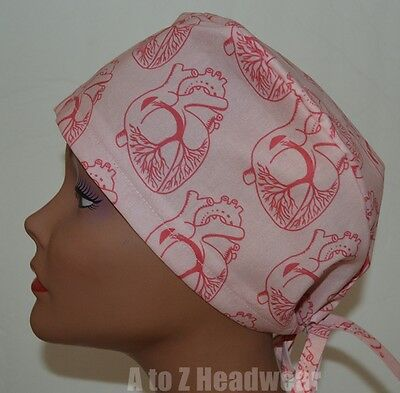 Anatomy of the Heart Pink TRADITIONAL Tie Back Surgical Scrub Cap Hat