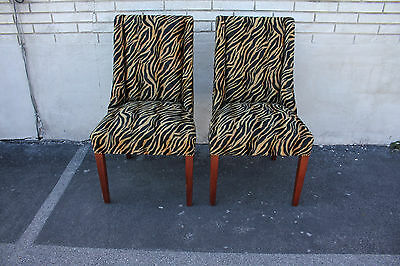 Elegant Pair of Modern Mahogany Spring Side End Chairs, c. 1940, New Upholstery