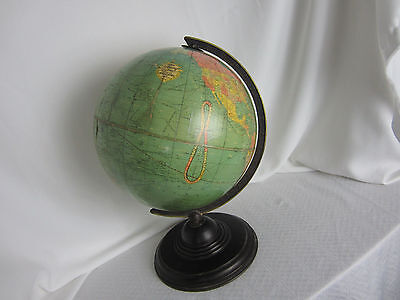 Antique Replogle World Globe 12 ins on stand 16 .5 ins tall 1940's? Revolves
