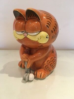 "Vintage Garfield ""The Golfer"" Piggy Bank"